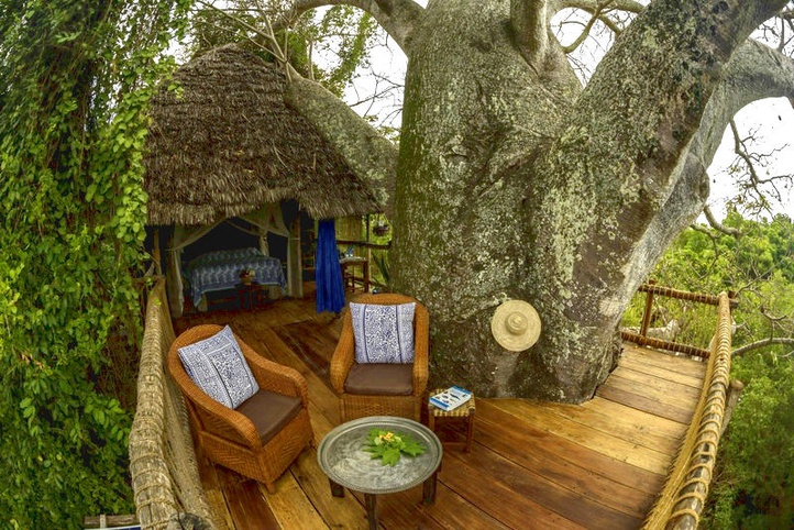 accommodation stay in a treehouse lodge hotel on tropical Mafia Island in Tanzania, East Africa