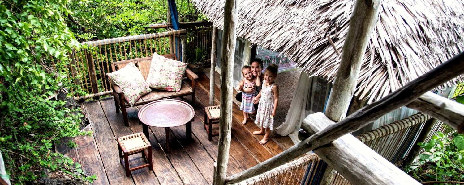 family accommodation in a treehouse lodge hotel on remote chole island of the Tanzanian coast East Africa